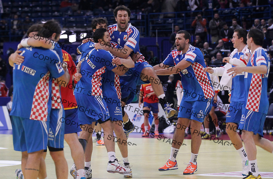 BELGRADE, SERBIA - JANUARY 29: Players of Croatia celebrates victory against Spain during the Men's European Handball Championship 2012 Bronze medal match between Croatia and Spain at Arena Hall on January 29, 2012 in Belgrade, Serbia.  (Photo by Srdjan Stevanovic/Starsportphoto.com ©)