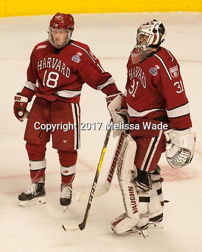 Adam Fox (Harvard - 18), Merrick Madsen (Harvard - 31) - The University of Minnesota Duluth Bulldogs defeated the Harvard University Crimson 2-1 in their Frozen Four semi-final on April 6, 2017, at the United Center in Chicago, Illinois.
