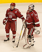 Adam Fox (Harvard - 18), Merrick Madsen (Harvard - 31) - The University of Minnesota Duluth Bulldogs defeated the Harvard University Crimson 2-1 in their Frozen Four semi-final on April 6, 2017, at the United Center in Chicago, Illinois.