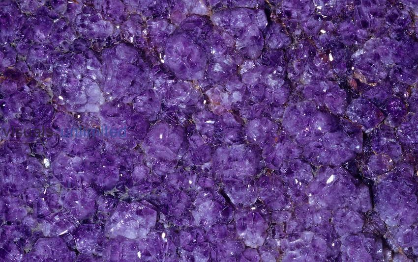 Amethyst crystals, a variety of Quartz (SiO2), Brazil, South America.
