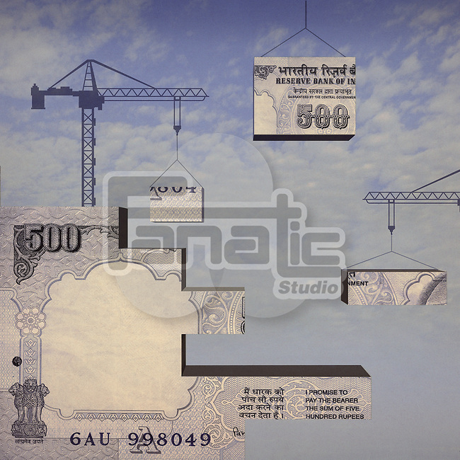 Crane lifting parts of Indian currency note