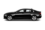 Car driver side profile view of a 2018 Jaguar XE Base 4 Door Sedan