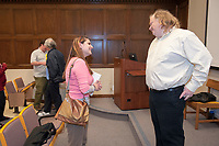 Photo from Wednesday, March 3, 2010 in Johnson 200 of Johnson Hall.<br /> <br /> Jonathan Gold, Pulitzer Prize-winning food critic for the LA Weekly, speaks at the Food for Thought Lecture Series at Occidental College, with an introduction by Urban & Environmental Policy Professor Robert Gottlieb.<br /> (Photo by Marc Campos, Occidental College Photographer)