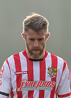 Michael Tonge of Stevenage looks downbeat at HT during the Sky Bet League 2 match between Wycombe Wanderers and Stevenage at Adams Park, High Wycombe, England on 12 March 2016. Photo by Andy Rowland/PRiME Media Images.