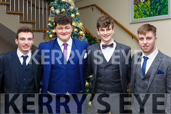 Attending the Gaelcholáiste Chiarrai Debs in the Ballyroe Heights Hotel on Tuesday night last, l-r, Brian MacAmhlaoibh, Darragh MacGearailt, Donal O'Fiocht and Sean Quilter.