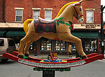 "A view of ""Rockin' Around the Christmas Tree"" created by Theresa Rowe Obert, at Main and Partition Streets, one of the ""Rockin' Around Saugerties"" theme Statues on display throughout the Village of Saugerties, NY, on Friday, June 9, 2017. Photo by Jim Peppler. Copyright/Jim Peppler-2017."