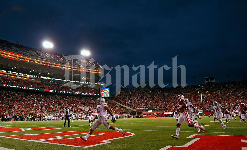 Ohio State Buckeyes running back J.K. Dobbins (2) scores a rushing touchdown against Nebraska Cornhuskers during the 1st quarter at Memorial Stadium in Lincoln, Neb on October 14, 2017.  [Kyle Robertson/Dispatch]