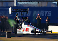 Feb 3, 2016; Chandler, AZ, USA; NHRA top fuel driver Richie Crampton during pre season testing at Wild Horse Pass Motorsports Park. Mandatory Credit: Mark J. Rebilas-USA TODAY Sports