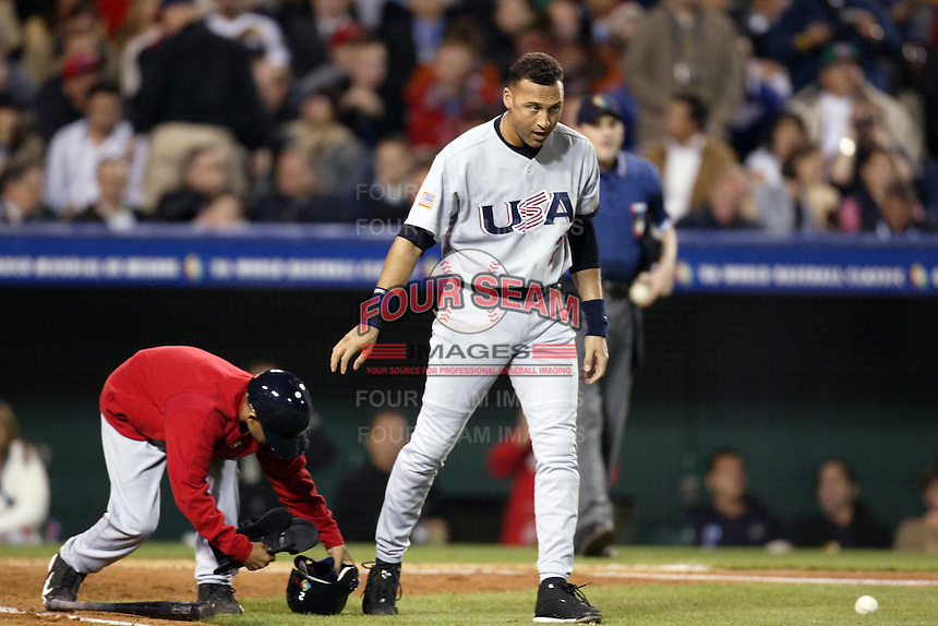 Derek Jeter of the USA during the World Baseball Championships at Angel Stadium in Anaheim,California on March 16, 2006. Photo by Larry Goren/Four Seam Images