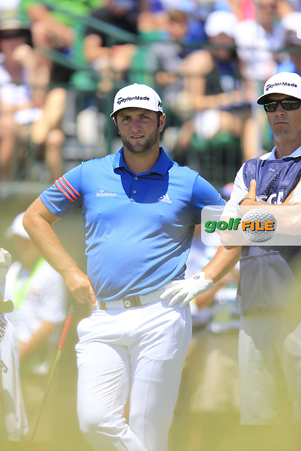 Jon Rahm (ESP) on the 1st tee to start his match during Friday's Round 2 of the 117th U.S. Open Championship 2017 held at Erin Hills, Erin, Wisconsin, USA. 16th June 2017.<br /> Picture: Eoin Clarke | Golffile<br /> <br /> <br /> All photos usage must carry mandatory copyright credit (&copy; Golffile | Eoin Clarke)