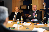 ESPN Executive Vice President for Content John Skipper (R) makes a point during a meeting of members of the USA Bid Committee for the FIFA World Cup in New York, NY on December 15, 2009.