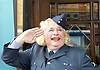 Christopher Biggins (dressed as a female RAF officer) <br /> will be hosting West End Heros <br /> a celebration with shows and stars of the west end and the UK's finest military musicians together in support of Help For Heros which will be on Sunday 4th October 2015 <br /> at The Dominion Theatre, London, Great Britain <br /> <br /> Christopher Biggins <br /> and members of the armed forces. <br /> <br /> Photograph by Elliott Franks <br /> Image licensed to Elliott Franks Photography Services