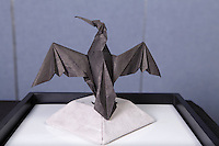 Origami cormorant designed and folded by Michael LaFosse on display at the OrigamiUSA 2013 Convention exhibition