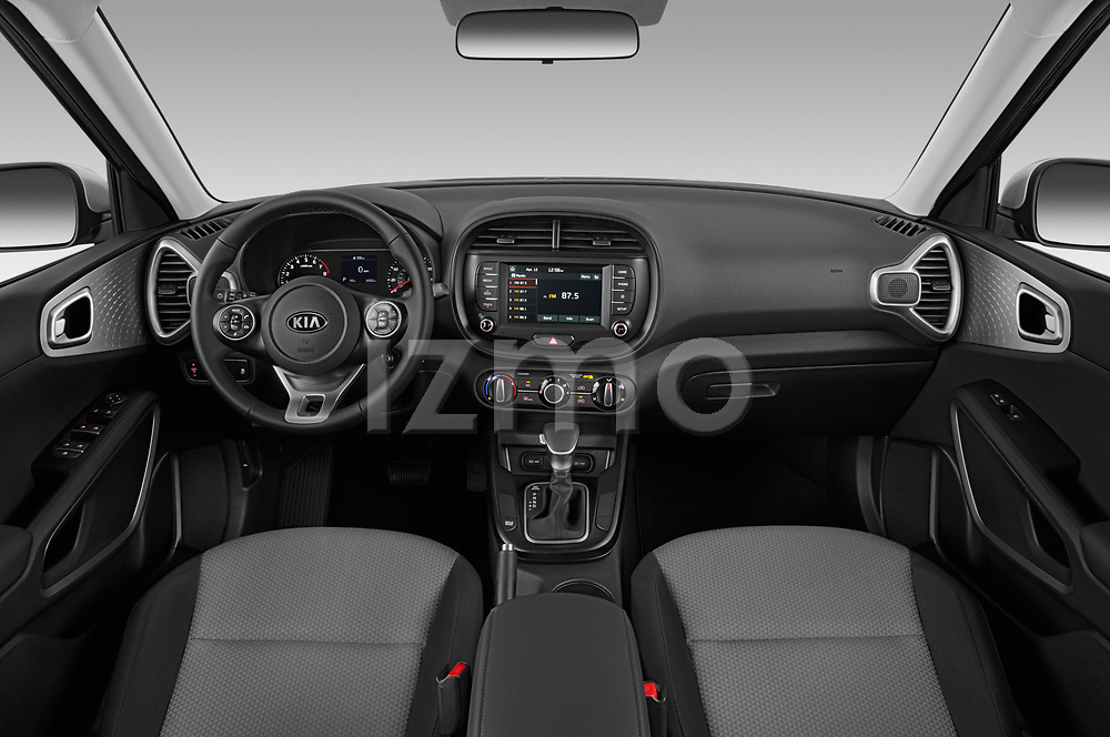 Stock photo of straight dashboard view of a 2020 KIA Soul  X-Line 5 Door Hatchback