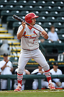 Palm Beach Cardinals shortstop Alex Mejia (7) lays down a bunt during a game against the Bradenton Marauders on April 8, 2014 at McKechnie Field in Bradenton, Florida.  Bradenton defeated Palm Beach 4-3.  (Mike Janes/Four Seam Images)