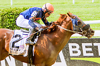 "ELMONT, NY - JULY 08: Mind Your Biscuits #2, ridden by Joel Rosario, wins the Belmont Sprint Stakes, a ""Win & You're In"" race on Belmont Stakes Day at Belmont Park on July 8, 2017 in Elmont, New York (Photo by Sue Kawczynski/Eclipse Sportswire/Getty Images)"
