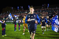 Rhy Priestland and the rest of the Bath Rugby team run out onto the field. European Rugby Challenge Cup match, between Bath Rugby and Bristol Rugby on October 20, 2016 at the Recreation Ground in Bath, England. Photo by: Patrick Khachfe / Onside Images
