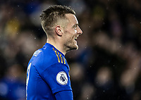 Leicester City's Jamie Vardy smiles after scoring his side's third goal <br /> <br /> Photographer Andrew Kearns/CameraSport<br /> <br /> The Premier League - Leicester City v Aston Villa - Monday 9th March 2020 - King Power Stadium - Leicester<br /> <br /> World Copyright © 2020 CameraSport. All rights reserved. 43 Linden Ave. Countesthorpe. Leicester. England. LE8 5PG - Tel: +44 (0) 116 277 4147 - admin@camerasport.com - www.camerasport.com