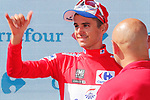 Rudy Molard (FRA) Groupama-FDJ retains the race leaders Red Jersey at the end of Stage 7 of the La Vuelta 2018, running 185.7km from Puerto Lumbreras to Pozo Alc&oacute;n, Spain. 31st August 2018.<br /> Picture: Unipublic/Photogomezsport | Cyclefile<br /> <br /> <br /> All photos usage must carry mandatory copyright credit (&copy; Cyclefile | Unipublic/Photogomezsport)