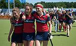 NIJMEGEN -  Iris Aalbers (Huizen) , Anouk Bekkers (Huizen) en Grace Huberts (Huizen) na de tweede play-off wedstrijd dames, Nijmegen-Huizen (1-4), voor promotie naar de hoofdklasse.. Huizen promoveert naar de hoofdklasse.  COPYRIGHT KOEN SUYK
