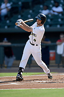 Center fielder Gene Cone (9) of the Columbia Fireflies bats in game one of a doubleheader against the Rome Braves on Saturday, August 19, 2017, at Spirit Communications Park in Columbia, South Carolina. Rome won, 8-2. (Tom Priddy/Four Seam Images)