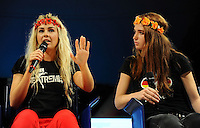 Alexandra Schevchenko founder member of Femen, Josephine Witt member <br /> 02-09-2013: Genova Festa Nazionale Partito Democratico<br /> Democratic Party National Meeting <br /> Foto Genovafoto / Insidefoto