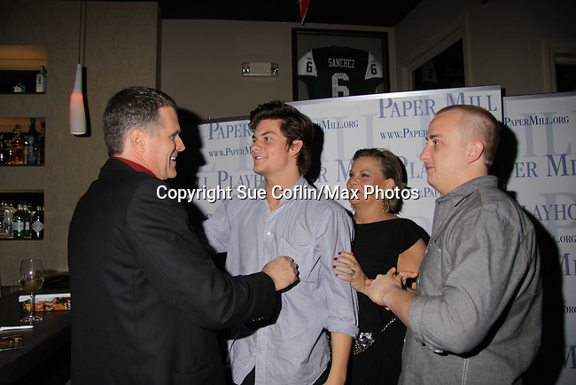 """Opening of """"Curtains"""" starring Guiding Light and One Life To Live Kim Zimmer, Guiding Light Robert Newman chat with Kim's sons Jake & Max - May 1, 2011 at the Paper Mill Theatre in Millburn, New Jersey. The play runs until May 22, 2011. (Photos by Sue Coflin/Max Photos)"""