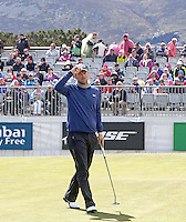 Friday 29th May 2015; Bernd Wiesberger, Austria, finishes with a birdie 3 at the 9th to lead in the clubhouse -3<br /> <br /> <br /> Dubai Duty Free Irish Open Golf Championship 2015, Round 2 County Down Golf Club, Co. Down. Picture credit: John Dickson / SPORTSFILE