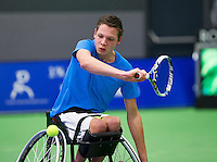 Rotterdam, Netherlands, December 18, 2015,  Topsport Centrum, Lotto NK Tennis, Wheelchair semifinal : Ruben Spaargaren (NED)<br /> Photo: Tennisimages/Henk Koster