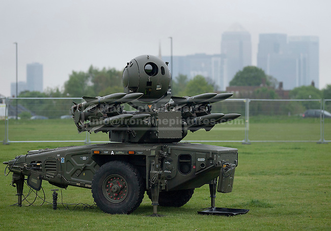 03/05/2012. LONDON, UK. A Rapier surface to air missile system (SAM) belonging to Sphinx Battery, 16 Regiment Royal Artillery, is seen on Blackheath in London today (03/0512). The missiles have been deployed as part of an exercise involving the RAF, British Army and Royal Navy taking place across London as part of security preparations for the 2012 London Olympic Games. Photo credit: Matt Cetti-Roberts