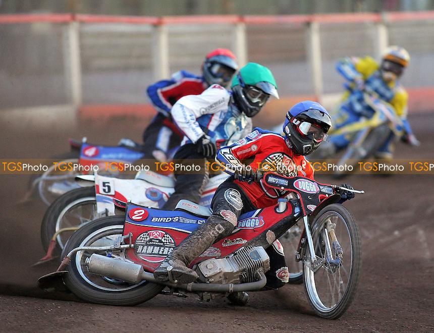 Heat 6 - Kylmakorpi (blue), McGowan (green), Lanham, Davidsson -  Lakeside Hammers vs Reading Racers - Sky Sports Elite League at Arena Essex, Purfleet - 03/08/07 - MANDATORY CREDIT: Gavin Ellis/TGSPHOTO - SELF-BILLING APPLIES WHERE APPROPRIATE. NO UNPAID USE. TEL: 0845 094 6026..