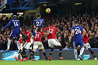 Andreas Christensen of Chelsea heads the ball just over the Manchester United crossbar during Chelsea vs Manchester United, Premier League Football at Stamford Bridge on 5th November 2017