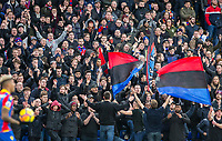 The Crystal Palace supporters in fine voice during the Premier League match between Crystal Palace and Manchester City at Selhurst Park, London, England on 31 December 2017. Photo by Andy Rowland.