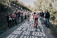 Ivan Santaromita (ITA/Nippo-Vini Fantini) up the infamous Muro di Sormano (avg 17%/max 25%)<br /> <br /> Il Lombardia 2017<br /> Bergamo to Como (ITA) 247km