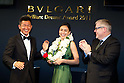 Jun Hasegawa and Kazuyoshi Miura, Jul 01st, 2011  : Tokyo, Japan - Kazuyoshi Miura (L) and Jun Hasegawa (C) smile for photographers as they have been awarded the BVLGARI Brilliant Dreams Award 2011 at the BVLGARI store in Omotesando. (Photo by Christopher Jue/AFLO).