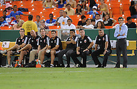 DC United Head Coach Ben Olsen with staff looks at the team at the end of the game.  FC. Dallas defeated DC United 3-1 at RFK Stadium, Saturday August 14, 2010.