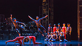 """12/05/2015. London, England. At the front Pierre Tappon and Luke Ahmet. Rambert Dance Company perform the World Premiere of """"Dark Arteries"""" by Mark Baldwin as part of a triple bill at Sadler's Wells Theatre. Rambert perform with the Tredegar Town Band and the Rambert Orchestra from 12 to 16 May 2015."""