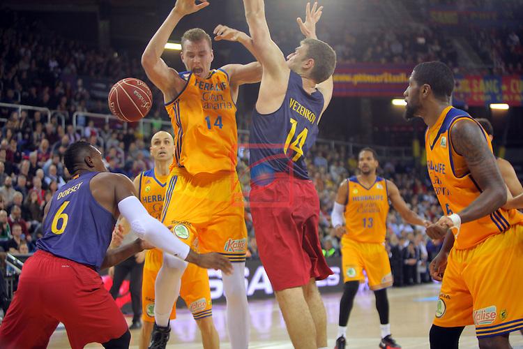 League ACB-ENDESA 2016/2017. Game: 11.<br /> FC Barcelona Lassa vs Herbalife Gran Canaria: 79-78.<br /> Joey Dorsey, Anzejs Pasecniks &amp; Aleksandar Vezenkov.