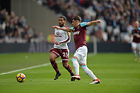 Aaron Cresswell and Aaron Lennon of Burnley  during West Ham United vs Burnley, Premier League Football at The London Stadium on 10th March 2018