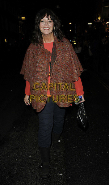 Josie Lawrence.The 'Much Ado About Nothing' press night afterparty, Salvador & Amanda bar & restaurant, London, England..September 27th, 2012.full length orange cape blue trousers black boots.CAP/CAN.©Can Nguyen/Capital Pictures.