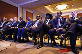 Former New York City Mayor Michael Bloomberg, Djbouti President Ismail Omar Guelleh, South Sudan President Salva Kiir Mayardit, and other African leaders listen to U.S. President Barack Obama deliver closing remarks during the U.S.-Africa Business Forum at the Mandarin Oriental Hotel August 5, 2014 in Washington, DC. Obama is promoting business relationships between the United States and African countries during the three-day U.S.-Africa Leaders Summit, where 49 heads of state are meeting in Washington. <br /> Credit: Chip Somodevilla / Pool via CNP