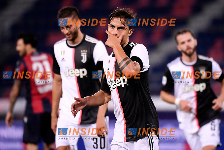 Paulo Dybala of Juventus celebrates after scoring the goal of 0-2 during the Serie A football match between Bologna FC and Juventus at Dall'Ara stadium in Bologna ( Italy ), June 22th, 2020. Play resumes behind closed doors following the outbreak of the coronavirus disease. <br /> Photo Federico Tardito / Insidefoto