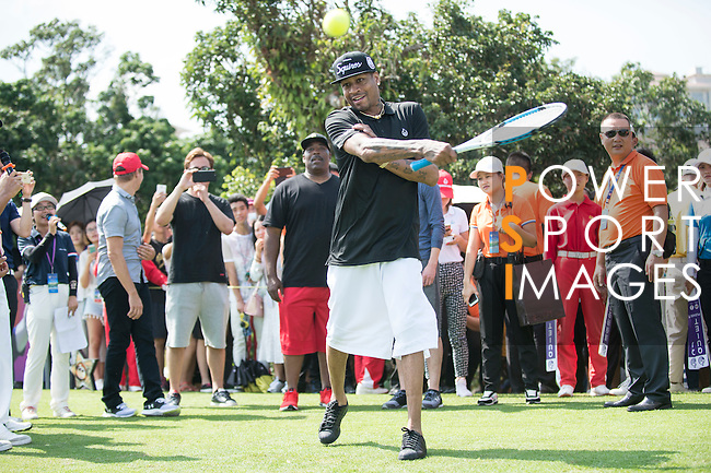 Allen Iverson plays tennis at the 10th hole during the World Celebrity Pro-Am 2016 Mission Hills China Golf Tournament on 22 October 2016, in Haikou, China. Photo by Marcio Machado / Power Sport Images