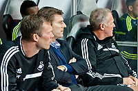 Thursday  03 October  2013  Pictured:Michael Laudrup, Manager of Swansea City ( Centre ) <br /> Re:UEFA Europa League, Swansea City FC vs FC St.Gallen,  at the Liberty Staduim Swansea