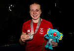Wales Rosie Eccles with her Silver medal after being beat by Sandy Ryan in the Woman's Women's 69kg Final Bout<br /> <br /> *This image must be credited to Ian Cook Sportingwales and can only be used in conjunction with this event only*<br /> <br /> 21st Commonwealth Games - Boxing - Day 10 - 14\04\2018 - Oxenford Studios  - Gold Coast City - Australia