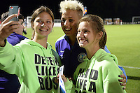 Kansas City, MO - Saturday May 28, 2016: Orlando Pride midfielder Lianne Sanderson (10) poses for a photo after the game. FC Kansas City defeated Orlando Pride 2-0 during a regular season National Women's Soccer League (NWSL) match at Swope Soccer Village.