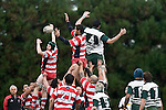 Andrew McConchie & Barry Papalili compete for lineout ball against Jamie Metcalfe. Counties Manukau Premier rugby game between Karaka & Manurewa played at the Karaka Domain on July 5th 2008..Karaka won 22 - 12.