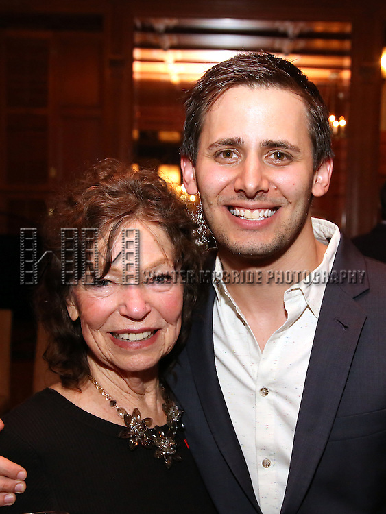 Gretchen Cryer and Benj Pasek during the Dramatists Guild Fund intimate salon with Benj Pasek and Justin Paul at the home of Kara Unterberg on March 7, 2016 in New York City.