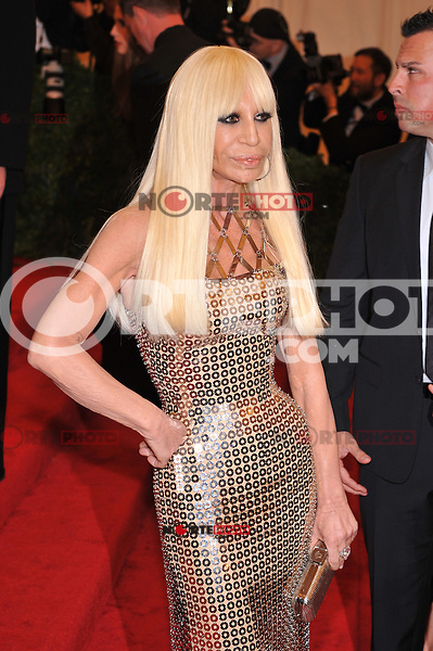 Donatella Versace at the 'Schiaparelli And Prada: Impossible Conversations' Costume Institute Gala at the Metropolitan Museum of Art on May 7, 2012 in New York City. © mpi03/MediaPunch Inc.