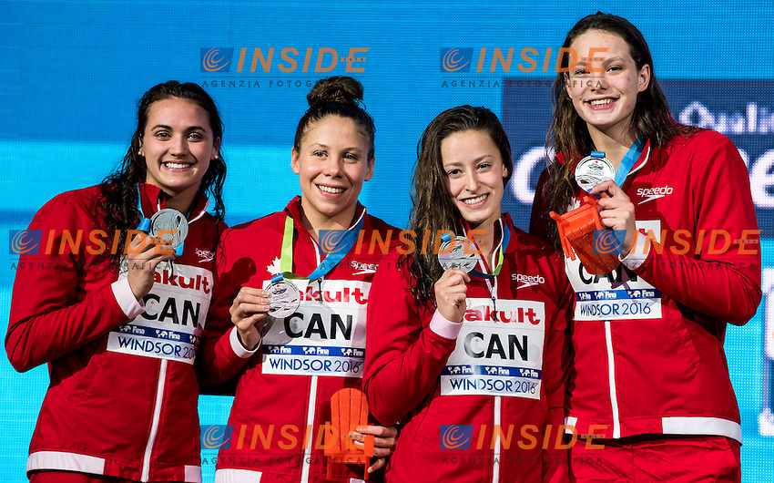 Canada CAN Silver Medal <br /> MASSE Kylie Jacqueline NICOL Rachel SAVARD Katerine <br /> OLEKSIAK Penny<br /> Women's 4x100m Medley Relay<br /> 13th Fina World Swimming Championships 25m <br /> Windsor  Dec. 11th, 2016 - Day06 Finals<br /> WFCU Centre - Windsor Ontario Canada CAN <br /> 20161211 WFCU Centre - Windsor Ontario Canada CAN <br /> Photo &copy; Giorgio Scala/Deepbluemedia/Insidefoto